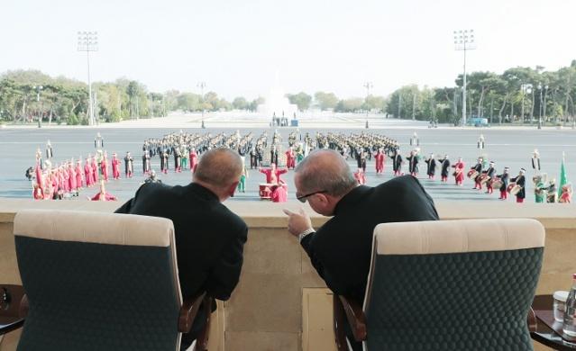 Cumhurbaşkanı Recep Tayyip Erdoğan Azerbaycan'ın başkenti Bakü'de.