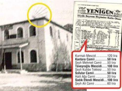 CHP Binası olarak kullanılan bir mescid. Mescidin tepesine CHP amblemi konulmuş. Vakıflar Genel Müdürlüğü Camileri satabilmek için gazetelere ilan veriyor