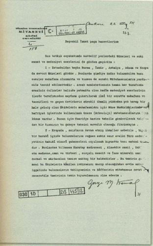 Mustafa Kemal'in İsmet İnönü'ye Konya'daki Aladdin Camii'nin tahliyesi için yazdığı yazı