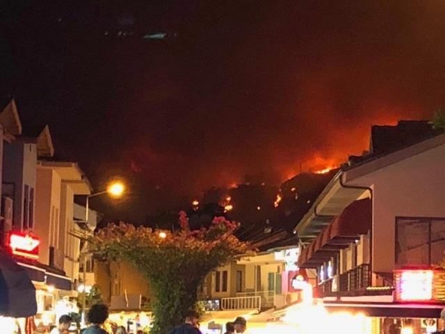 Dalaman'da dün öğle saatlerinde çıkan orman yangını Göcek'e kadar ilerledi