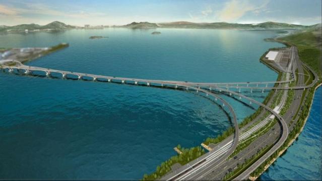 Dünyanın deniz üzerindeki en uzun köprüsü olacak Hong Kong - Zhuhai - Macao köprüsü açıldı.