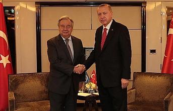Erdoğan'ın Paris'teki ilk görüşmesi Guterres'le