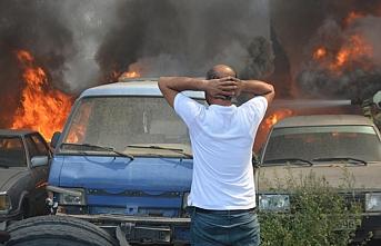 Bursa'da otoparkta büyük yangın: 20 araç küle döndü