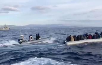 Yunan Sahil Güvenlik unsurlarının düzensiz göçmenleri geri itmesi kamerada