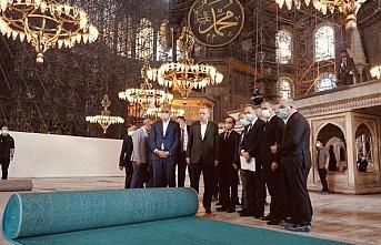 Erdoğan cami açılışı öncesi Ayasofya'da