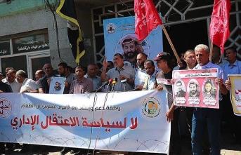 İsrail hapishanelerinde açlık grevi yapan Filistinlilere destek gösterisi