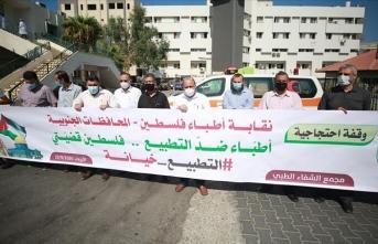 Filistin Tabipler Sendikası İsrail'le normalleşme anlaşmalarını protesto etti