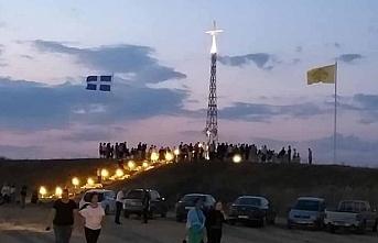 Yunan-Türk sınırına dev haç yerleştirildi