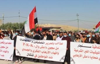 Ezidiler, terör örgütü PKK'nın Sincar'daki varlığına karşı gösteri düzenledi