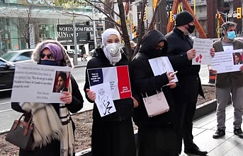 Kanadalı Müslümanlar Macron'u protesto etti