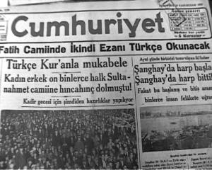 Türkçe ezandan Bursa nutku'na !