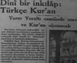 Dini Islah Beyannamesi: Osmanlıdan Cumhuriyete Türkçe ibadet