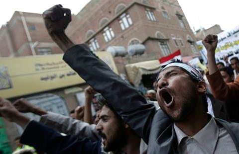 Yemen devriminin 3'üncü yıldönümünde gösteriler