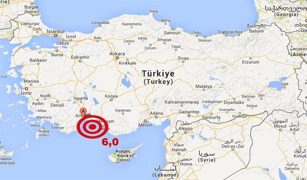 Antalya'da 6,0 büyüklüğünde deprem