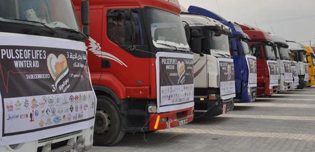 15 yardım TIRI Suriye'ye hareket etti