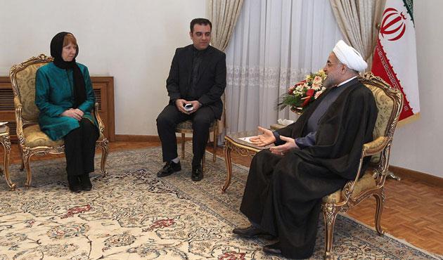 İran lideri Ruhani, Ashton'u kabul etti