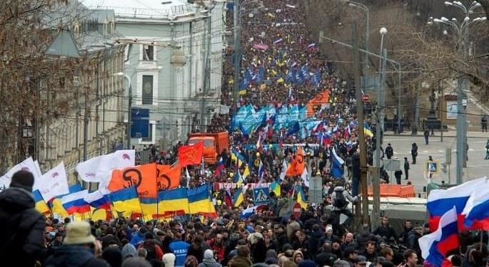Moskova'da savaş karşıtı yürüyüş