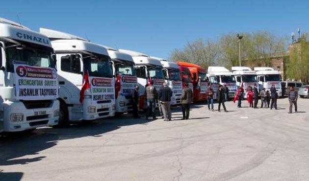 Erzincan'dan Suriye'ye 15 TIR'lık yardım