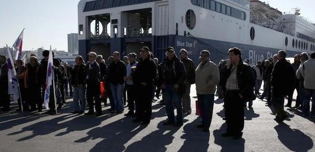 Yunanistan'da liman işçileri greve gitti