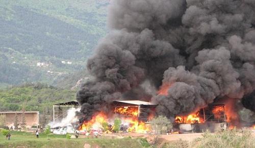 Bursa'da çimento fabrikasında yangın