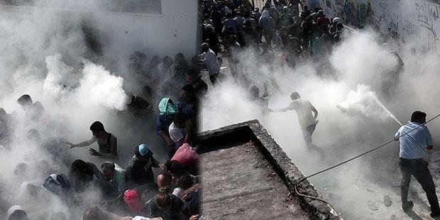 Yunan polisinden göçmenlere sert müdahale