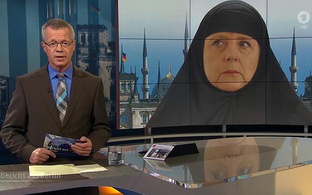 Alman kanal Merkel'e çarşaf giydirdi