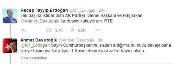 Erdoğan ile Davutoğlu Twitter'dan tebrikleşti