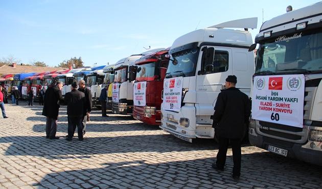 Kilis'te Suriye'ye 11 tırlık yardım