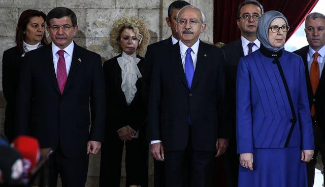 CHP lideri ile Aile Bakanı Anıtkabir'de yanyana düştü