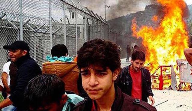 Midilli sığınma kampında arbede
