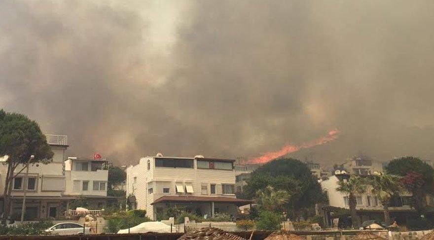 Bodrum'da yangın, evler boşaltıldı