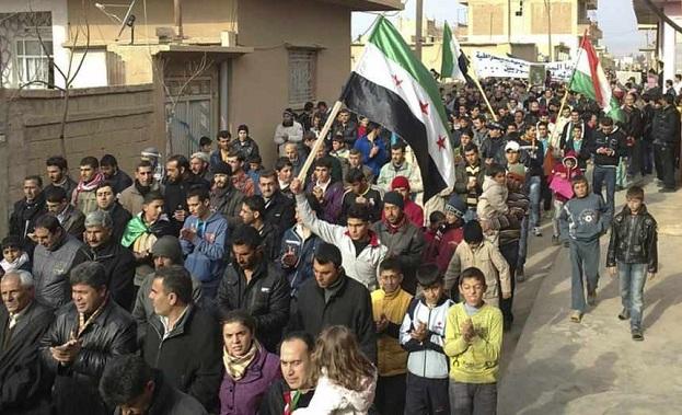 Suriye'de PYD karşıtı protesto