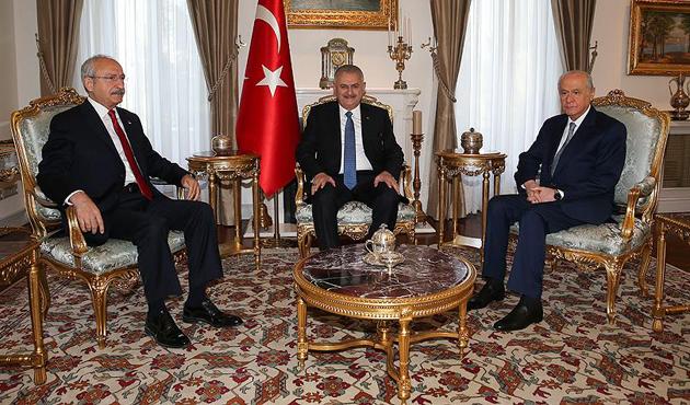Yıldırım, Kılıçdaroğlu ve Bahçeli Çankaya'da