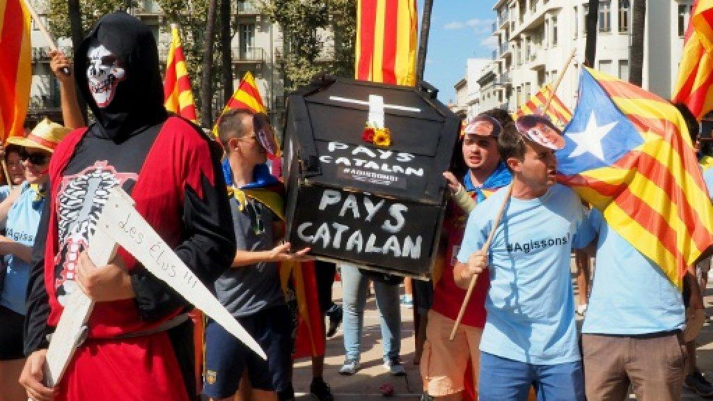 Fransa'da Katalan azınlık protesto gösterisi düzenledi