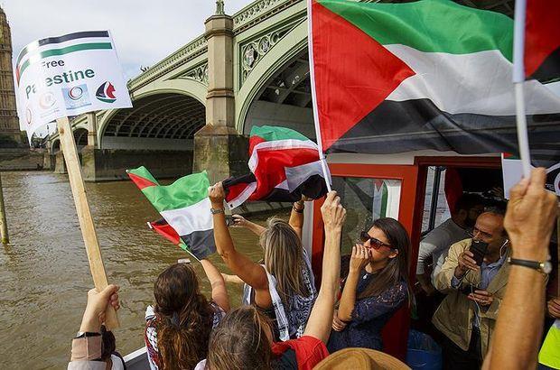 Londra'da Gazze yolundaki filoya destek