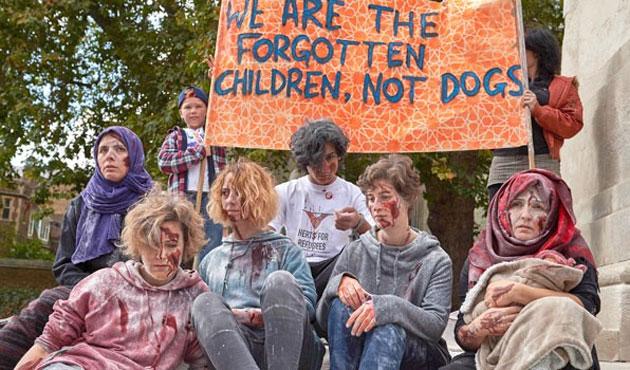 Calais'deki çocuklar için Londra'da eylem