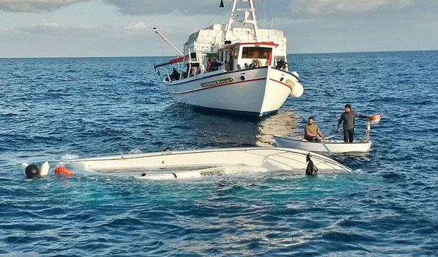 Didim'de göçmen teknesi alabora oldu