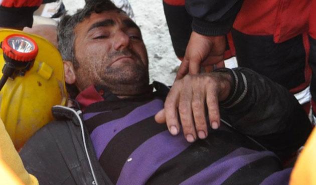 Madende mahsur kalan işçi 23 saat sonra kurtarıldı