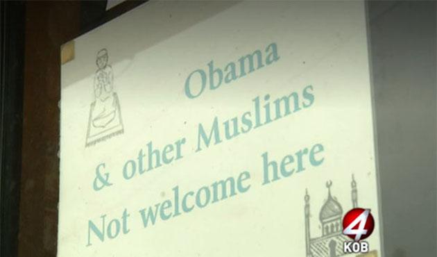 'Müslümanlar burada istenmiyor' tabelası tepki gördü