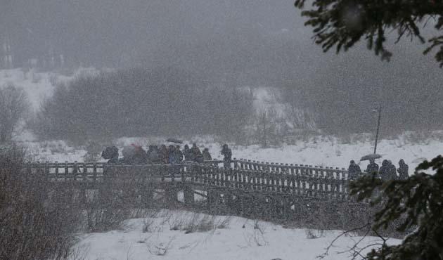 Abant'ta kar yağışı başladı