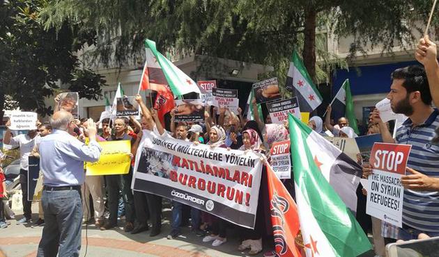 Lübnan'ın İstanbul Başkonsolosluğu önünde protesto