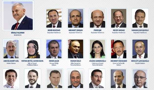 Başbakan Yıldırım yeni kabineyi açıkladı... İşte yeni Bakanlar Kurulu listesi