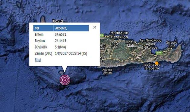 Akdeniz'de gece yarısı orta şiddette deprem