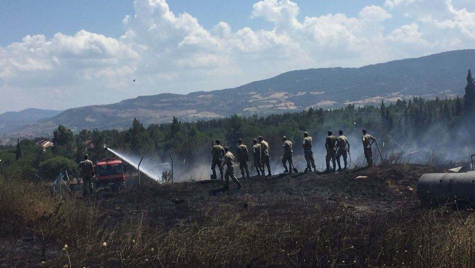 Çanakkale'de jandarma eğitim alanında yangın