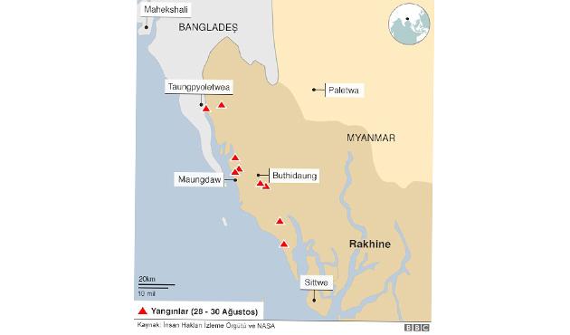 Myanmar'da ateşe verilen köylerin haritası yayınlandı