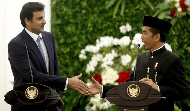 Katar Emiri Al Sani, Endonezya Devlet Başkanı ile görüştü