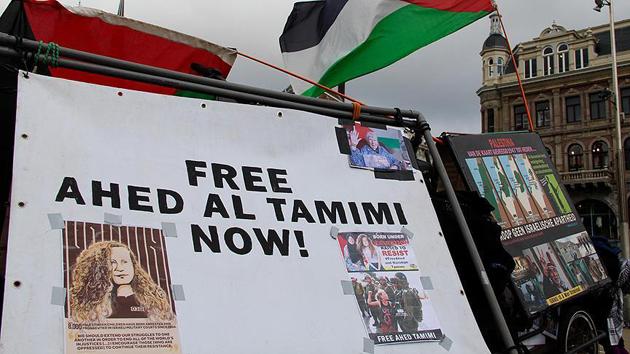 Hollanda'da Filistinli cesur kız Ahed'e destek gösterisi