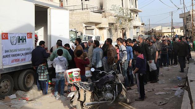Terörden kurtarılan Afrin'deki ailelere insani yardım