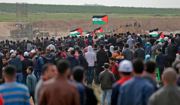 Gazze'deki barışçıl gösterilerde yaralanan Filistinli şehit oldu