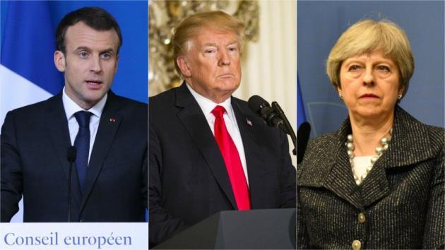 Macron, Trump ve May ile görüştü